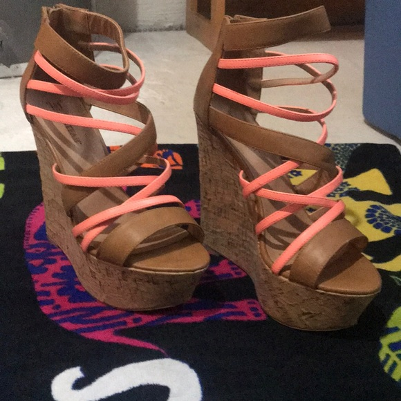Nadeen tan and coral wedges